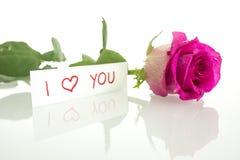 Jag älskar dig meddelandet med en enkel rosa färgros Fotografering för Bildbyråer