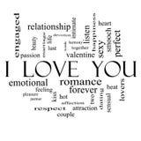 Jag älskar dig ordmolnbegreppet på i svartvitt Royaltyfria Bilder