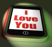 Jag älskar dig på telefonskärmar älskar romans Arkivbild
