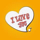 Jag älskar dig popkonst text till symbolet av hjärta Illustrationtylenolla Arkivbilder