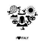 Jag älskar Italien svart Arkivbild