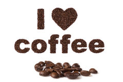 Jag älskar kaffe som är skriftligt i bönor Arkivfoton
