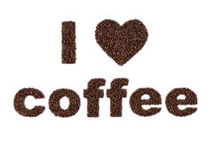Jag älskar kaffe som är skriftligt i bönor Arkivbild