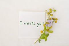 Jag missa dig meddelandekortet, och korn blommar Arkivbilder