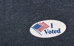 Jag röstade klistermärken - closeup Arkivbilder