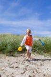 Jag ska av bygga sandslottar! Arkivbild