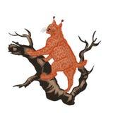 Jaga isolat för kontur för illustration för drake för tecknad film för rött för kattskog däggdjurs- för fä rovdjurs- för skog för Arkivfoton
