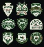 Jaga och utomhus- themed emblem och emblemsamling Fotografering för Bildbyråer