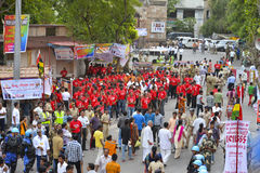 Jagannath阁下的137th拉斯Yatra在艾哈迈达巴德开始, 库存图片