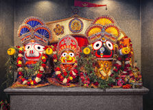 Jagannath Lord of the universe. Jagannath idol with his elder brother Balabhadra and sister Subhadra, in Hindu Temple. Jagannath, believed to be an avatar of royalty free stock images
