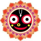 Jagannatha Mandala Big Smile, dios indio Krishna, liebre Krishna Oriental Ornament stock de ilustración