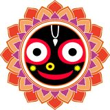 Jagannatha Mandala Big Smile,  Indian God Krishna, Hare Krishna Oriental Ornament stock illustration