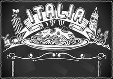 Jagar den grafiska beståndsdelen för tappning för italienare först menyn stock illustrationer
