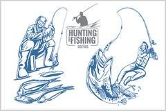 Jagd- und Fischenweinleseemblem Stockfotos