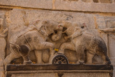 Jagdish Mandir Temple. Udaipur, India. Fragments of walls. The images of elephants. stock images
