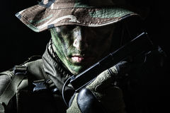 Jagdkommando soldier with pistol Royalty Free Stock Photography