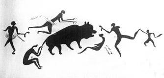 Jagdszenen von den neolithischen Malereien von Catalhoyuk Stockbilder