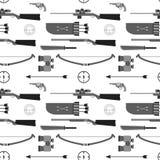 Jagdvektormuster Flache Artausrüstung Lokalisierte Waffen a Lizenzfreie Stockfotografie