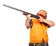 Jager die een jachtgeweer streeft Stock Afbeelding
