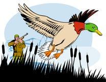 Jager die naar eend streeft vector illustratie