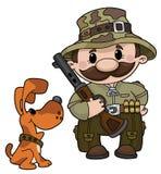 Jager en hond Royalty-vrije Stock Foto's