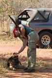 Jager en hond Stock Afbeelding
