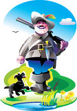 Jager met een geweer en hond Royalty-vrije Stock Afbeelding