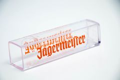 Geneva / Switzerland - March 20, 2018 : jagermeister Liquor shot glass brand logo deer royalty free stock photo