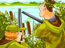 Jagers die de jacht streven vector illustratie
