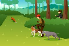 Jagers die met Zijn Honden een Vos jagen vector illustratie