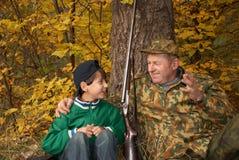 Jagers met een kanon Stock Fotografie