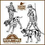Jagers met Honden - Retro Clipart-Illustratie - vectorreeks royalty-vrije illustratie