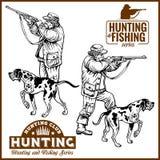 Jagers met Honden - Retro Clipart-Illustratie - vectorreeks vector illustratie