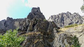 """Three Sisters Canyon Trail Outcrop. A sheer jagged outcrop of the """"Three Sisters"""" 'Canyon' in Springville, Ut Stock Photos"""