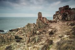 Jagged cliffs landscape royalty free stock photography