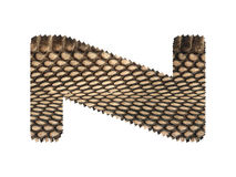 Jagged edge text letter made of natural snake skin texture. Stock Image