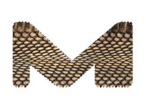 Jagged edge text letter made of natural snake skin texture. Royalty Free Stock Photo