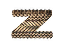 Jagged edge text letter made of natural snake skin texture. Royalty Free Stock Photography