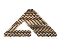 Jagged edge text letter made of natural snake skin texture. Stock Photo