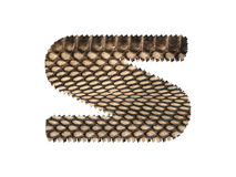 Jagged edge text letter made of natural snake skin texture. Royalty Free Stock Images