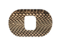 Jagged edge text letter made of natural snake skin texture. Royalty Free Stock Image