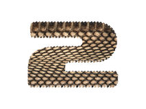 Jagged edge text number made of natural snake skin texture. Royalty Free Stock Image