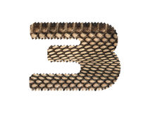 Jagged edge text number made of natural snake skin texture. Royalty Free Stock Photography