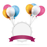 Jagged Emblem with Ribbon Balloons Stock Images