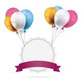 Jagged Emblem with Ribbon Balloons Stock Images