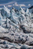 Jagged Glacier face. A jagged section of Matanuska Glacier in Alaska, with the ice pushed up by the force of the moving glacier Stock Image