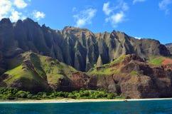 Jagged hills from catamaran at the dramatic Napali coast, Kauai, Hawaii Stock Image