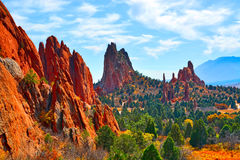 Jagged Limestone and Sandstone rock formations at Garden of the Gods Colorado Royalty Free Stock Photography