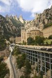 The jagged mountains in Catalonia, Spain, showing the Benedictine Abbey at Montserrat, Santa Maria de Montserrat, near Barcelona,  Royalty Free Stock Photography