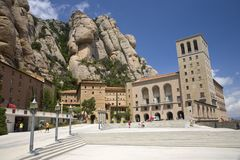 The jagged mountains in Catalonia, Spain, showing the Benedictine Abbey at Montserrat, Santa Maria de Montserrat, near Barcelona,  Royalty Free Stock Photo